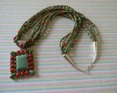 American Indian Green Turquoise and Coral Necklace Signed Pendant