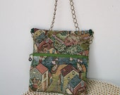 Vintage Tapestry HIP BAG Shoulder Purse Seaside City Chain Strap Crossbody OOAK