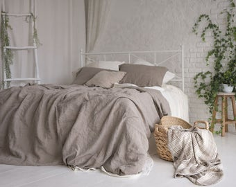 Flax Bed Linen... Linen Duvet Cover Gray Grey Queen King Stonewashed Eco friendly - Custom size