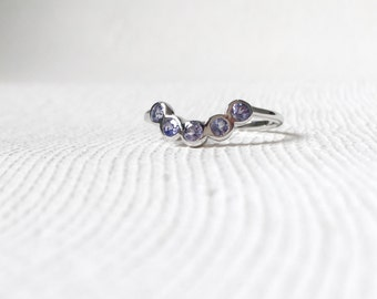 The Curve - Tanzanite Stacking Ring, Curve Ring, Gifts for her