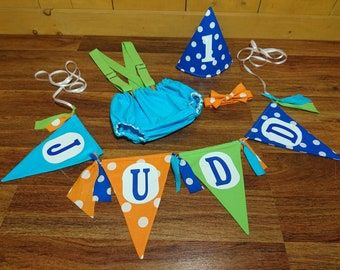 Blue Orange Green Baby Boy Birthday Banner & Smash Cake Outfit. Diaper Cover With Overall Suspenders Bow Tie and Hat Photo Props
