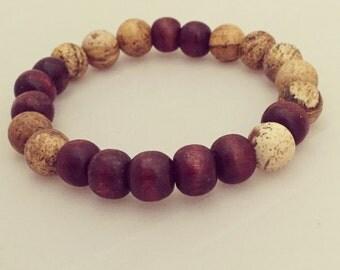 Yogi inspired Fibonacci Geek Buddha mala mediation bracelet with wood beads and pure jasper for men