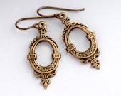 Brass Victorian Earrings - Antiqued Brass Nickel Free Earrings - Metal Earrings - Victorian Jewelry Dangles - Victorian Drop Earring (Torey)
