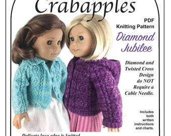 "Diamond Jubilee PDF Knitting pattern to fit popular 18"" dolls"