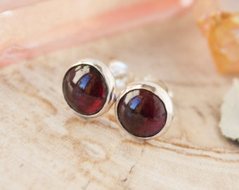 Garnet earrings, sterling silver stud earrings, garnet goddess earrings, garnet stud, 8mm garnet earrings, RTS