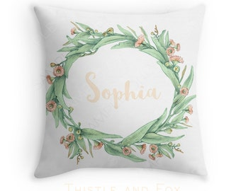 Name Cushion Australian Eucalyptus Leaves Peach Blossoms / Personalized Botanical Throw Pillow Cover/ Linen Cotton/ ships in 4-6 weeks
