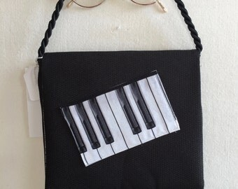 Musical Fabric Piano Keys Keyboard Small Purse Shoulder Hand Bag Evening Clutch