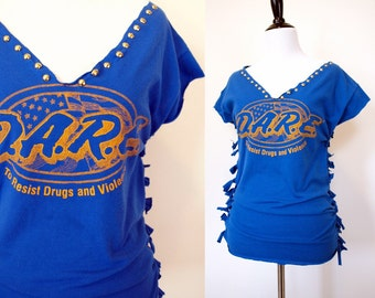 Vintage 90s womens blue hand shredded cut up studded punk blue DARE diy t shirt top size XS or S