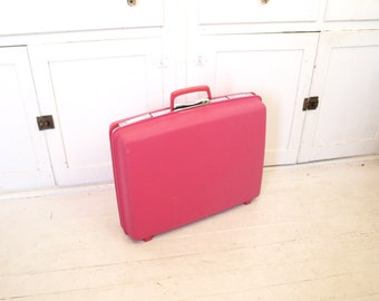 Vintage 60s mod pink Samsonite suitcase hard suit case travel weekender bag retro home decor storage bin