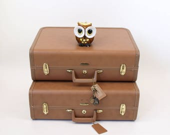 Set of 2 vintage 60s Brown Taperlite mid century modern suitcases locking with key keys suitcase retro travel luggage