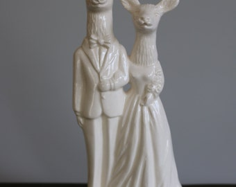 Stag and Doe Wedding Cake Topper  Handmade ceramic