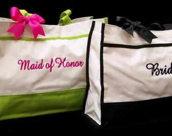 Set of 2 Tote Bags Bridesmaid Gifts Wedding Totes Bride Maid of Honor Bridesmaids