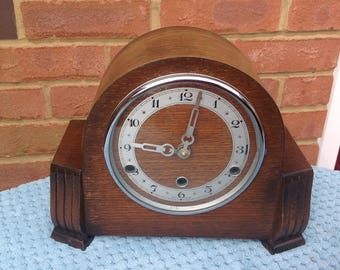 Chiming Mantle Clock - Converted to Battery - Large Wooden Mantle Shelf Clock