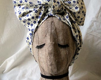 White Cotton Headwrap with Blue Flowers
