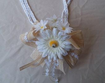 RUSTIC Lasso Rope Style White SUNFLOWER Wedding,lazo de boda,no cross Laso,Wedding ceremony,Wedding Traditions,floral rope burlap,Sunflowers