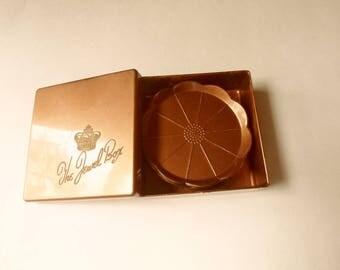 "Steeds ""The Jewel Box"" Coaster Set, Boxed Coaster Set, 7 Copper Color Coasters and Box"