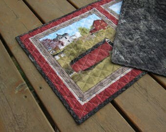 Table Runner, Table topper, quilted table runner, Dresser Scarf, Amish, rustic, primitive Americana, covered bridge, church, horse and buggy