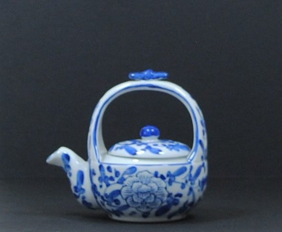 Vintage Miniature Teapot Blue And White Teapot Figurine