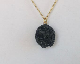 Black Druzy Geode Pendant Necklace. Pick Your Length. Gold Chain. Natural Stone. Gift for Her. Sparkle.
