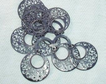 Gunmetal Black Round Jewelry Making Findings - 8 pcs