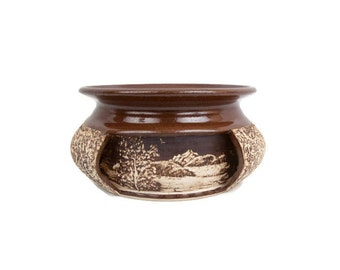 Vintage Sgraffito Pottery Planter Hand Carved Etchings Carole Snyder Artist Signed Wheel Thrown Brown and Tan Flower Pot
