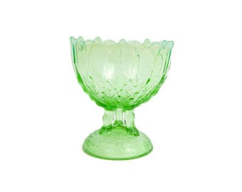 Antique Northwood Glass Green Glass Footed Compote Hilltop Vines Opalescent Leaf and Twigs Victorian Art Glass