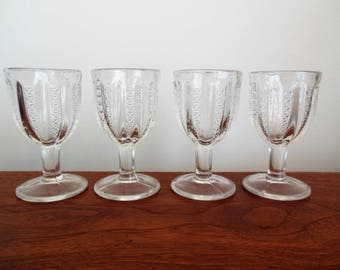 Set of Four Pattern Glass Cordials Stars and Stripes or Brilliant by Jenkins Glass 1899
