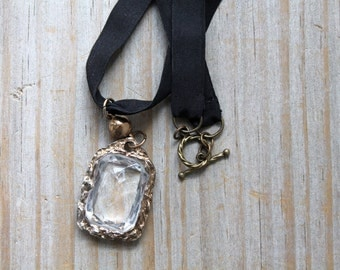 Recycled salvaged vintage pendant necklace / Victorian mourning jewelry style / repurpose black ribbon necklace / cosplay / theater prop