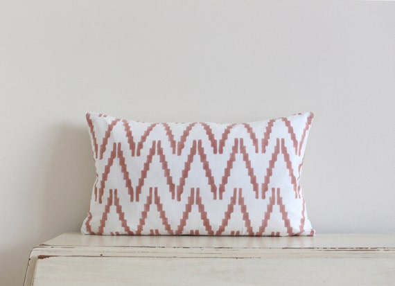 "Block printed chevron pillow cushion cover 12"" x 20"" in peach"