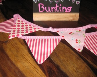 Pink polka dots and striped sweet cherry bunting