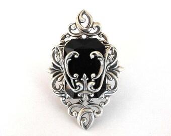 Black Swarovski Ring Large Gothic Ring Silver Statement Ring Fantasy Ring Gothic Ring Gothic Jewelry
