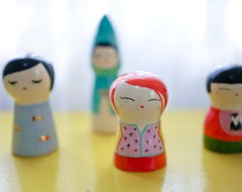 Kokeshi doll / Handmade / Ceramic art doll / Hand-painted doll / Japanese doll / Cute doll / Ready for delivery