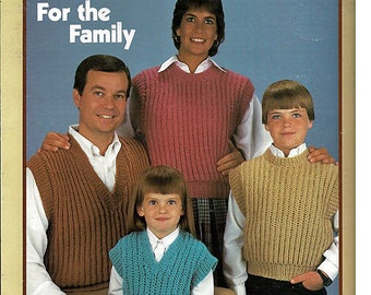 Shaker Stitch Vests For The Family to Knit Pattern Book Leisure Arts Leaflet 390