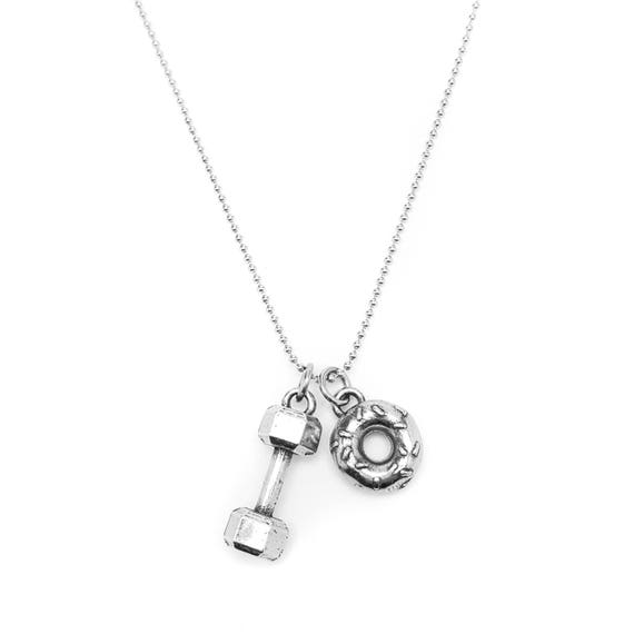 Will Lift for Donuts Dumbbell Necklace - Doughnuts - Fitness Jewelry - Barbell Necklace - Lifting - Gym & Workout Accessories