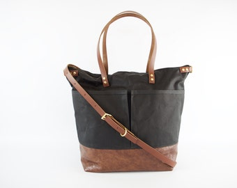 Black Waxed Canvas and Brown Leather Diaper Bag / work travel tote  -  LEWIS - Waterproof Waxed CANVAS top and LEATHER base carry all