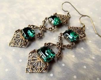 Art Deco Earrings Art Nouveau Earrings Gothic Earrings Emerald Earrings 1920s Earrings Filigree Earrings Victorian Green Earrings- Luxurious