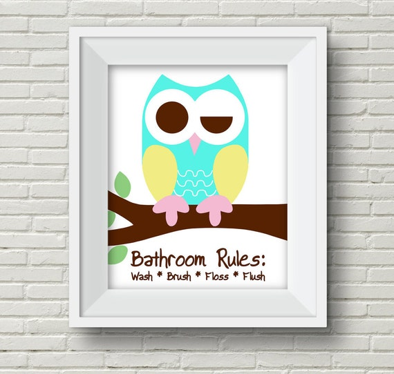Items Similar To Kid 39 S Bathroom Decor Owl Bathroom Owl