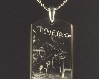 Engraved Kids Drawing Pendant Necklace with FREE Personalization! Engrave Your Childs Art Personalized Gift perfect for Mothers Day