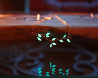Rose Gold LEAVES Branch Necklace GLOW in the DARK