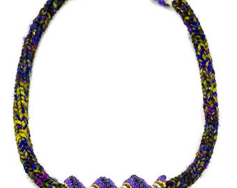 Beaded Bib Necklace, Crochet Necklace, Chunky Bib Necklace, Ethnic Jewelry, African Jewelry, Purple Necklace, Womens Necklace, Tribal