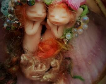 sweet  mermaids fairie fairy friend  in  shell purse  tiny  ooak