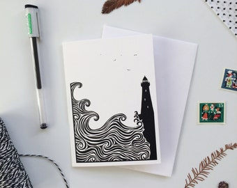 Lighthouse Greeting Card with Waves Crashing and Seagulls Flying, Illustrated Monochrome Black & White Note Card: blank inside all occasions