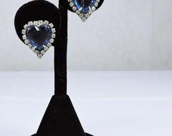 Blue Rhinestone Heart Pierced Earrings, Valentine's Day Gift