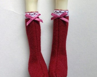 Doll Chateau Kid Red Boots Shoes 1/4 BJD