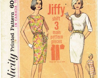 60s Bateau Neck Shift Dress Jiffy Simplicity Pattern 4947. Easy to Make, Sleeve Options, Back Zip, Belt. Size 18 Bust 38 inches.