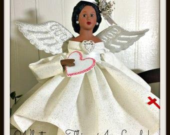 Latina Nurse Angel, Dark Haired Angel Nurse Tree Topper, Angel Tree Top Nurse, Porcelain Hispanic Nurse Angel