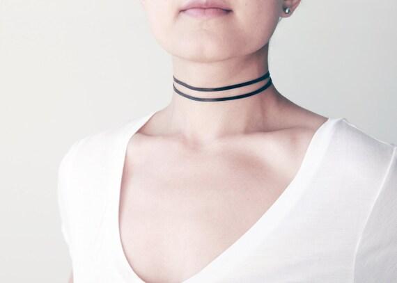 Double strand black leather choker necklace- plain raw leather choker- double leather choker- minimal choker- made to size adjustable choker