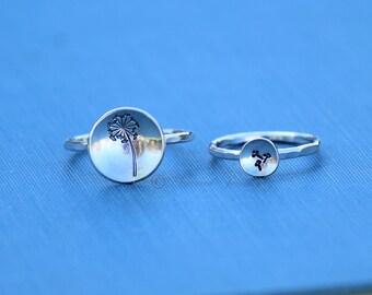Dandelion Ring set, Wish Ring, Dandelion Seed Ring, Dandelion Jewelry, Silver Ring, Flower Ring, Statement Ring, Bohemian Jewelry, Boho Ring
