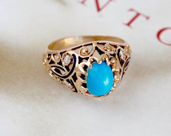 Art Nouveau 1.5ct Turquoise Diamond Engagement Ring, Antique Turquoise Filigree Ring, 1910s 14k Gold, Unique Alternative Engagement Ring