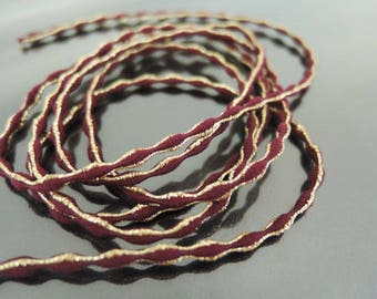 Elastic Cord 2.5mm - Siam Red with Metallic Gold Stretch Elastic Drawcord Rope Cord ( 1 , 5 or 10 Yards )